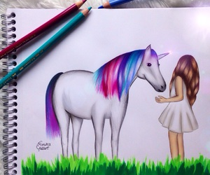 unicorn, drawing, and amazing image