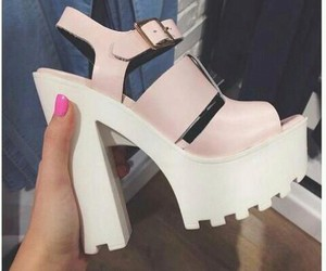 pink, block heels, and platforms image