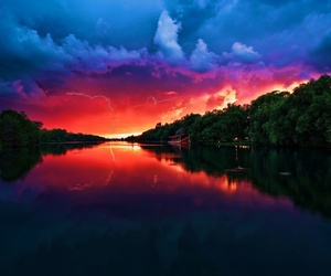 sunset, nature, and river image