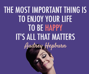 happy, quote, and audrey hepburn image