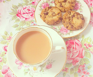 coffee, Cookies, and pink image