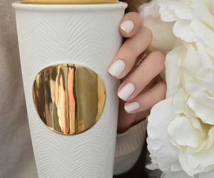 gold, nails, and starbucks image