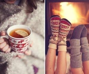winter, socks, and tea image