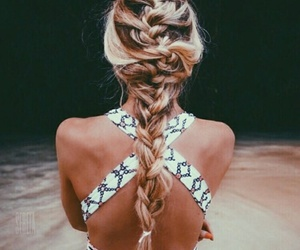 beach, braid, and blonde image