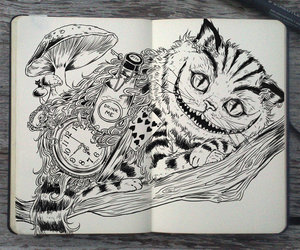 art, cat, and alice in wonderland image