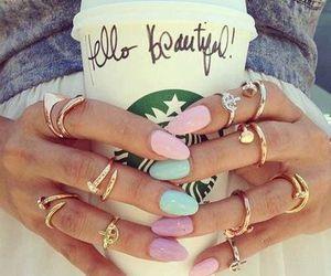 nails, starbucks, and rings image