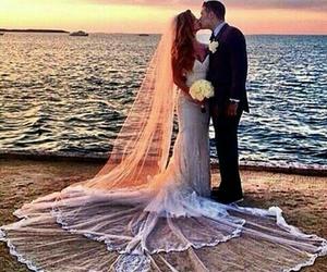 wedding, beach, and couple image