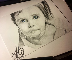 blue eyes, portrait, and traditional art image
