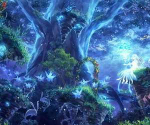 anime, forest, and fairy image