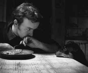 dog, black and white, and man image