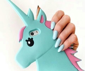 unicorn, nails, and blue image