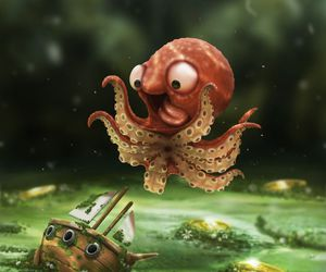 octopus, kraken, and funny image