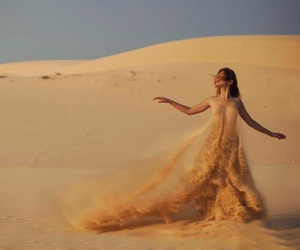 sand, woman, and dress image