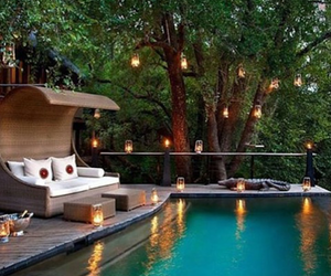 garden, outdoor, and swimming pool image