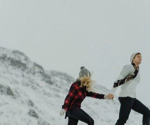 snow, couple, and Relationship image