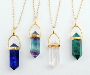 necklace, crystal, and blue image