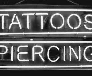 piercing, tattoo, and black and white image