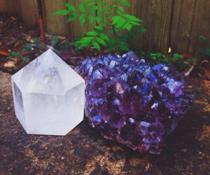 flower, purple, and crystals image