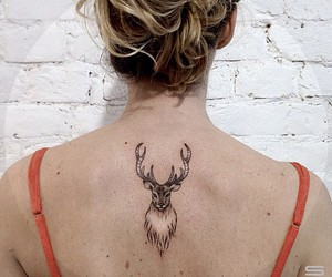 deer, linework, and tattoo image