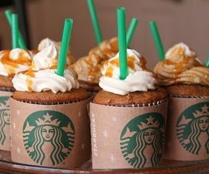 starbucks, food, and cupcake image