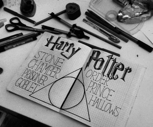 harry potter, black and white, and magic image