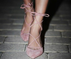 lace up, pink, and pumps image