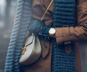 coat, luxury, and scarf image