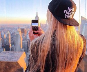 hair, new york, and blonde image