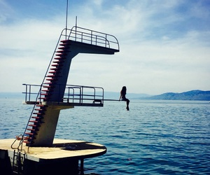 diving board, switzerland, and fearless image