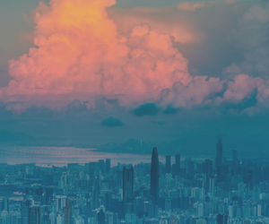 city, clouds, and sky image