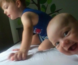 funny, baby, and photobomb image