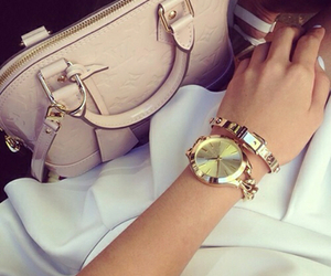 bag, peach, and watch image
