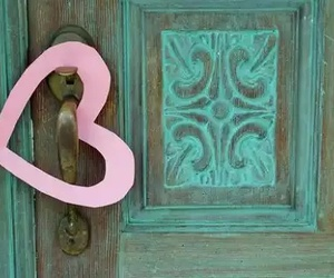 door, turquoise, and heart image