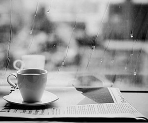 coffee, rain, and black and white image