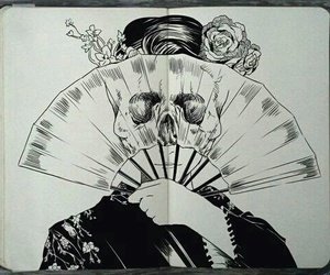 art, drawing, and fan image