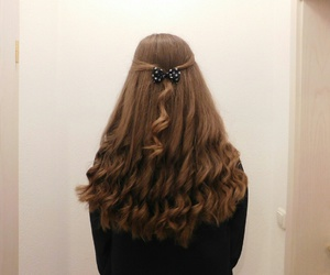 beauty, bow, and brown hair image