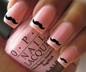 nails, pink, and mustache image