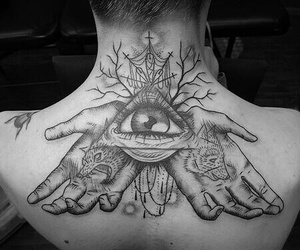 tattoo, eye, and hands image