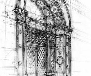 art, door, and draw image