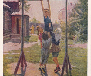 children, playing, and vintage postcards image