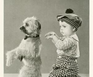 dog, vintage, and kid image