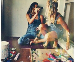 girl, friends, and paint image