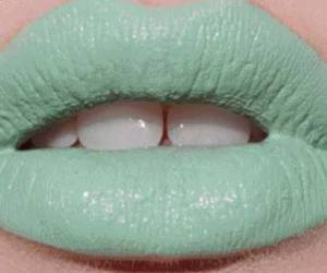 lips, lipstick, and green image