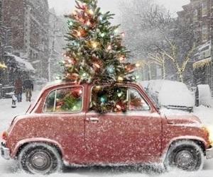 christmas, snow, and car image