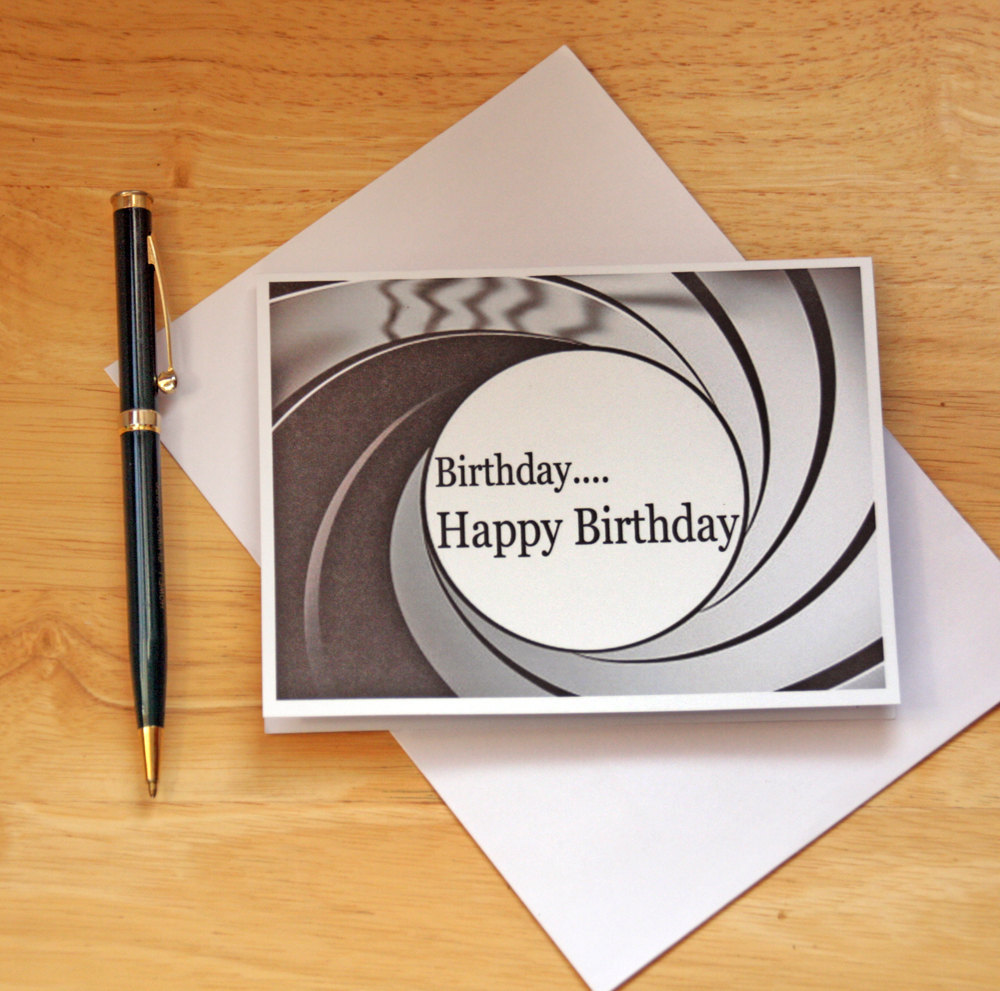 Happy Birthday Card James Bond For Him Her Fan Gun Barrel 007