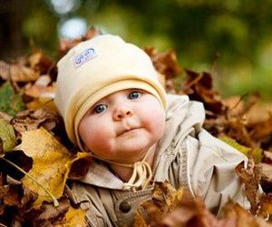 baby, cute, and autumn image