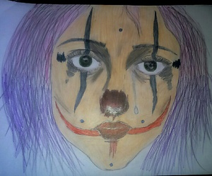 clown, sadness, and drawing+ image