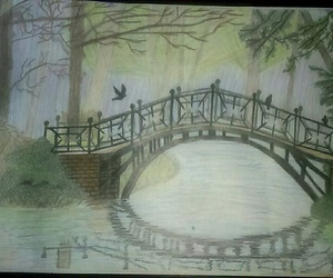 bridge, drawing, and park image