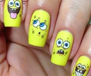 nails, yellow, and spongebob image