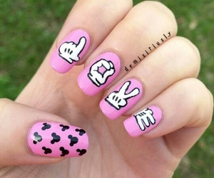 nails, pink, and mickey mouse image